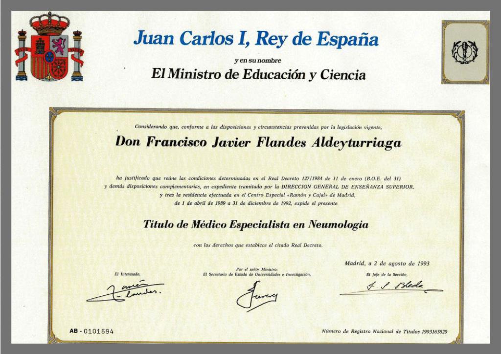 Certificación Flandes Médico Especialista Neumología